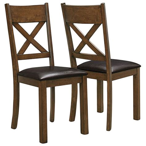 rustic country dining chair set of 2 walnut dining