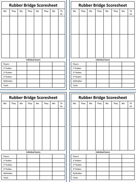 Printable Chicago Bridge Score Sheet Printable Bridge Score Sheets Free In Pdf