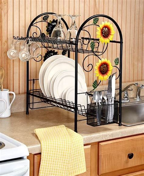 sunflower kitchen decorating ideas details about dish rack 2 tier metal sunflower rooster apple country kitchen decor space saver