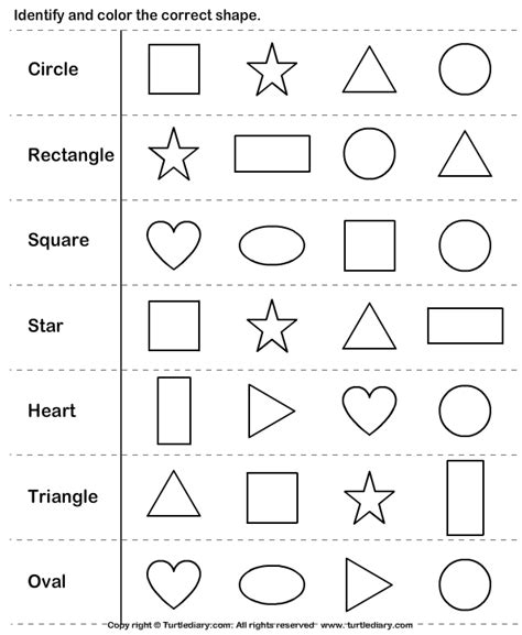 identify shapes shapes in 2018 worksheets