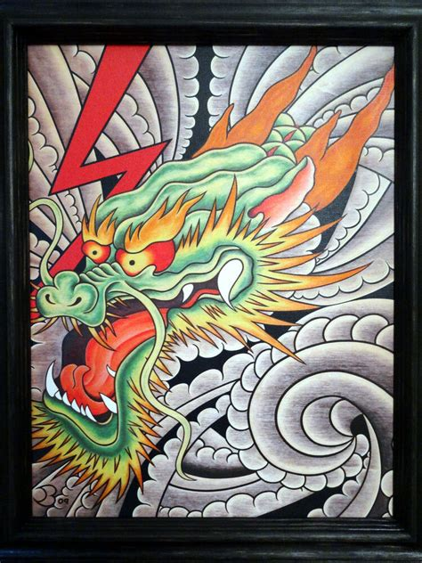 fine art giclee framed canvas print japanese dragon tattoo