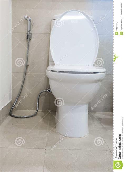 toilet water spray hose modern toilet room stock photo image 41397665