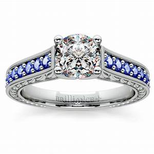 antique sapphire gemstone engagement ring in white gold With gemstone wedding rings