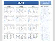 Free Yearly Calendar 2019 Templates with Spain Holidays