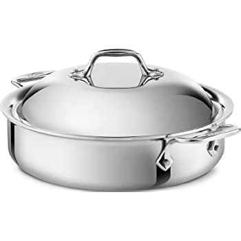 amazoncom  clad  stainless steel  ply bonded dishwasher safe sauteuse  domed lid