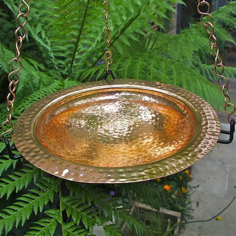 copper hanging birdbath with iron ring by london garden