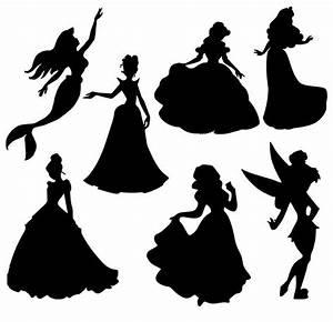 Disney princess silhouette clipart pack . Disney princess ...