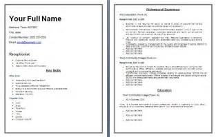 resume templates receptionist receptionist resume template free word templatesfree word templates