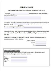 how to send a certified letter landlord notice to vacate template business 9873