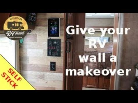 rv wall makeover faux wood panels  stick