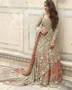Pakistani Bridal Dress 2017 - Peach Back Trail Maxi ...