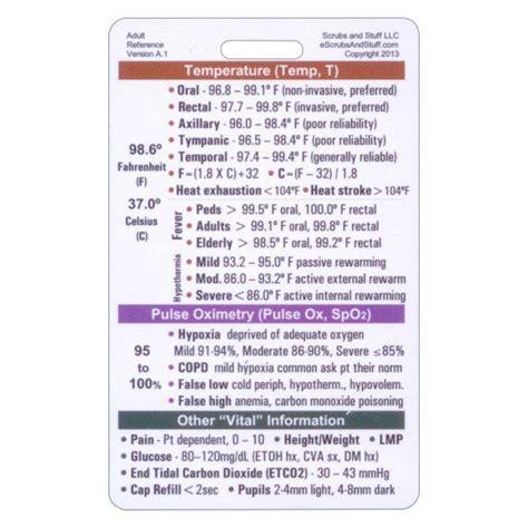 adult vital signs badge pocket card vertical  nurse