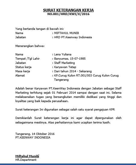 Contoh Surat Pemindahan Jabatan by Gado Gado Contoh Surat Keterangan Kerja Untuk