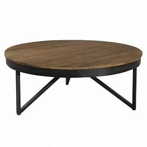 Table Basse Metal Ronde : table basse ronde en teck recycl et m tal noir d90xh35cm swing ~ Teatrodelosmanantiales.com Idées de Décoration