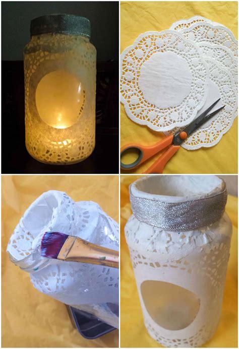 doily glass jar luminary recyclart