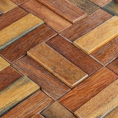 Holz Mosaik Fliesen by Wood Mosaic Tiles Boat Planks 30x30cm Varnished Mosafil