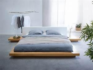 Bett Design Holz : massives designer bett japan style 180x200 cm holz bett buche hellbraun mit lattenrost ~ Frokenaadalensverden.com Haus und Dekorationen