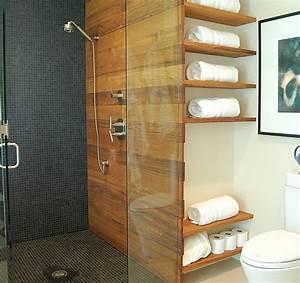 Badezimmer Regal Holz : badezimmer regale wandgestaltung holz glas trennwand duschkabine bad pinterest badezimmer ~ Frokenaadalensverden.com Haus und Dekorationen