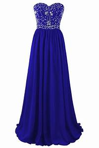 Beautiful Blue Chiffon Beaded A-line Prom Dresses 2017 ...