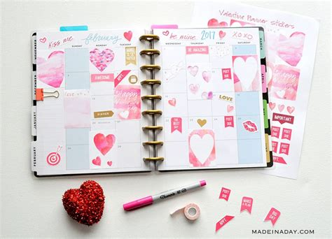 » free svg cut files. February Watercolor Valentine FREE Printable Planner ...