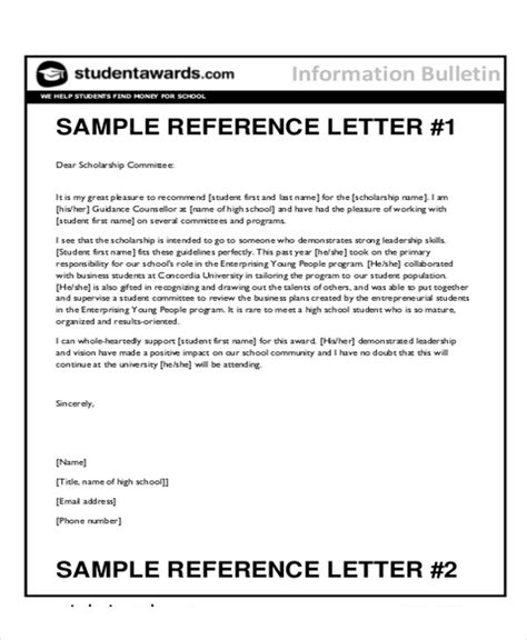 sample reference letter  student examples   word