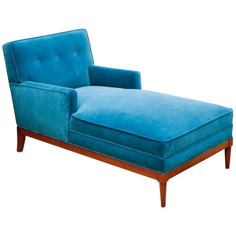 mid century turquoise velvet chaise at 1stdibs