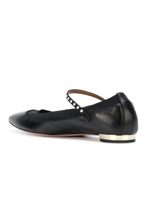 aquazzura flats ballerina  black leather  pearls italian boutique