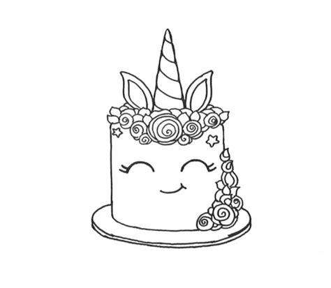 smiling unicorn cake coloring pages  printable coloring pages