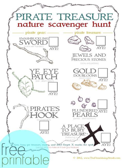 treasure hunt for free pirate treasure nature scavenger hunt printable nature scavenger hunts pirate treasure