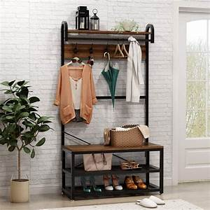 Vintage, 4, In, 1, Hall, Tree, With, Storage, Bench, 3