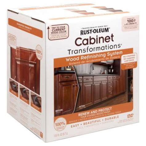 rustoleum cabinet refinishing home depot rust oleum transformations cabinet wood refinishing system