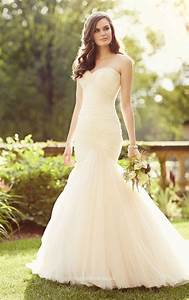 ruched tulle simple strapless long mermaid sweetheart With ruched mermaid wedding dress