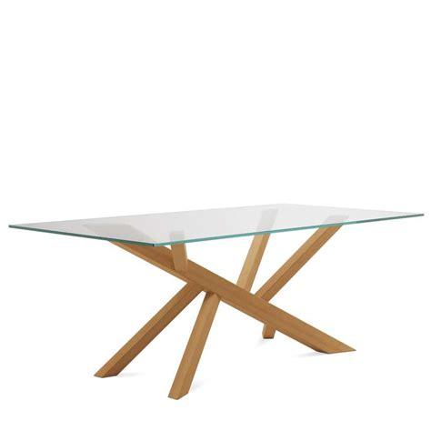 table a manger verre et bois table verre pied verre