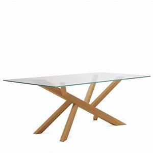 Table Plateau Bois : table design en verre et pieds bois tree domitalia 4 ~ Teatrodelosmanantiales.com Idées de Décoration