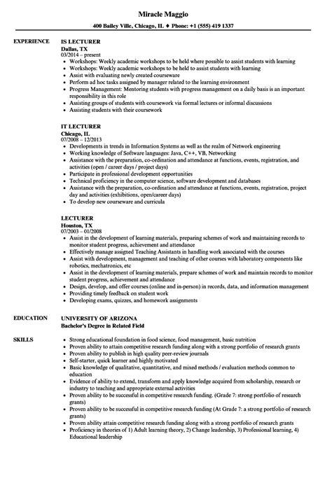lecturer resume sle resume for professor in
