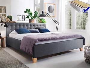 Bett 180x200 Grau : polsterbett luke 180x200 grau doppelbett ehebett lattenrost matratze bett ebay ~ Indierocktalk.com Haus und Dekorationen