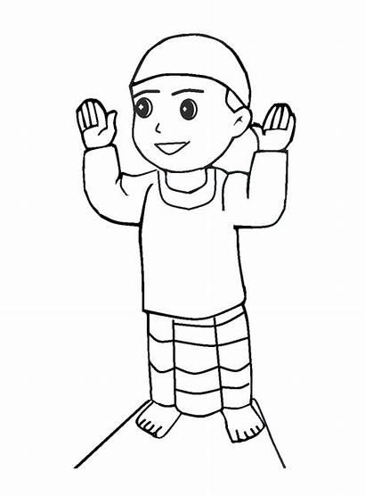 Anak Gambar Mewarnai Kartun Muslim Solat Sedang