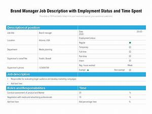 Brand Manager Job Description With Employment Status And