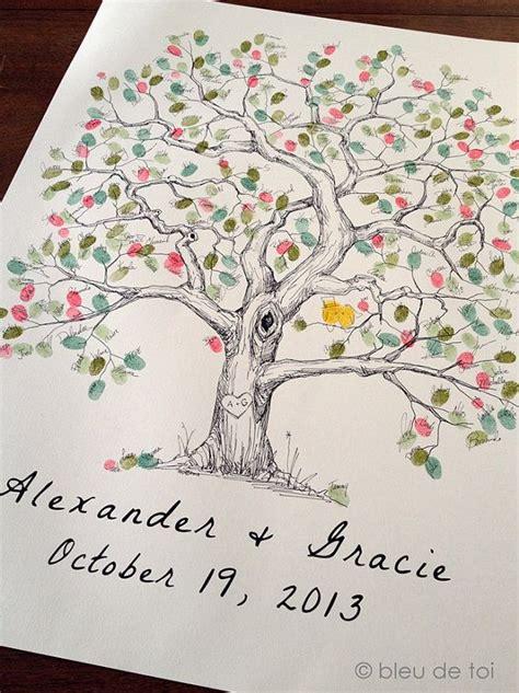 extra large elm design the original drawn guest book fingerprint tree ink pads sold