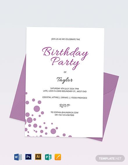 16+ Birthday Invitation Cards Editable Word PSD AI