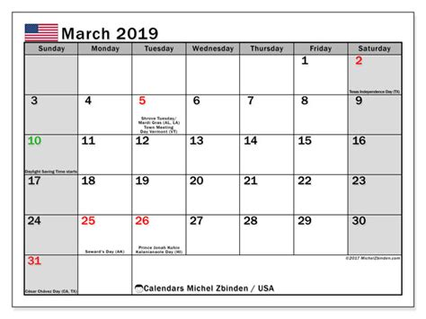 calendars march public holidays usa michel zbinden en