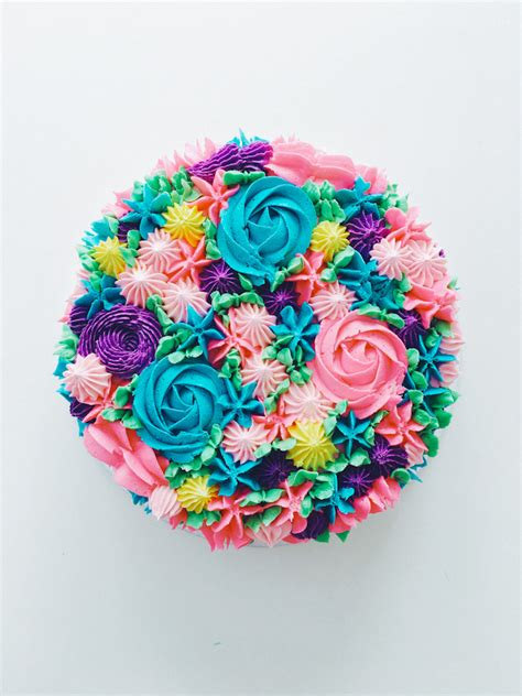 piped rainbow buttercream flower cake coco cake land