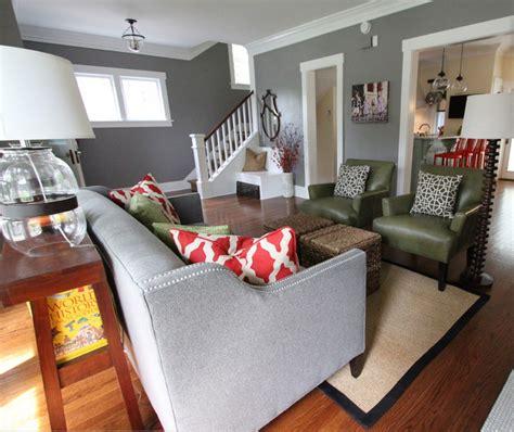 grey walls living room just decorate
