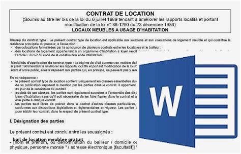 Exemple Contrat De Location Meublee Mod 232 Le Gratuit Contrat De Location Chambre Meubl 233 E