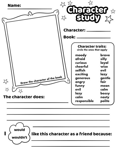 character study worksheet printable template free