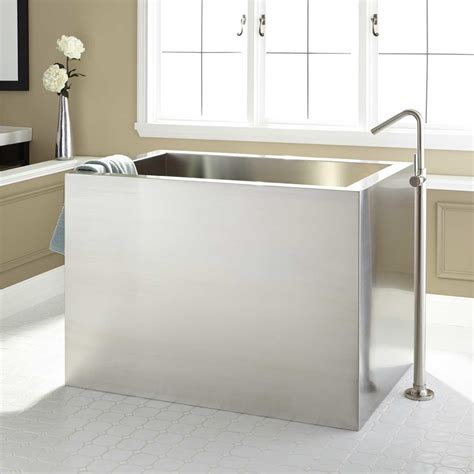 tub and shower faucets 48 quot amery brushed stainless steel soaking tub bathroom