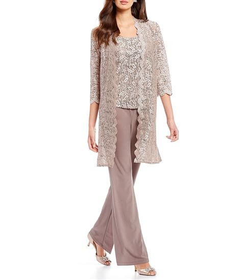 rm richards  piece scallop lace duster pant set dillards