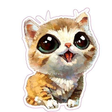 pcs cat kawaii cute  cartoon bubble animal stickers