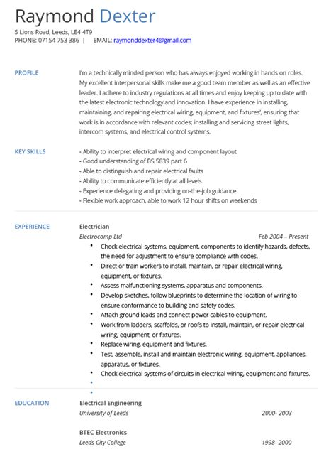 Electrician Resume Templates by Resume Exles Electrician Resume Template Exles