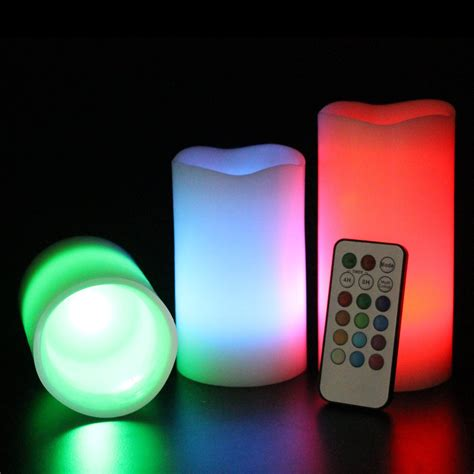 3 colour changing led flameless wax mood candles with
